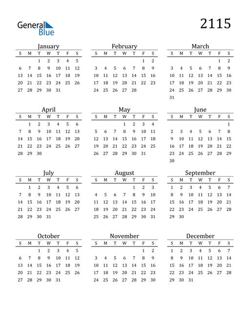 Image of 2115 2115 Printable Calendar Classic