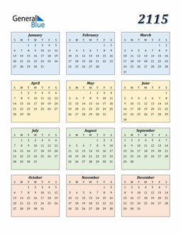 Image of 2115 2115 Calendar with Color