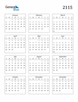 Image of 2115 2115 Calendar Streamlined