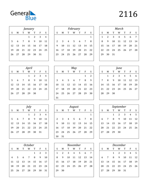 Image of 2116 2116 Calendar Streamlined