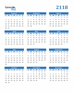 Image of 2118 2118 Calendar Blue with No Borders