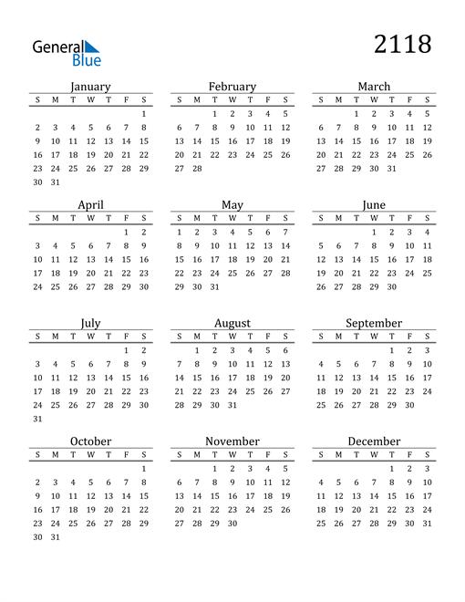 Image of 2118 2118 Printable Calendar Classic
