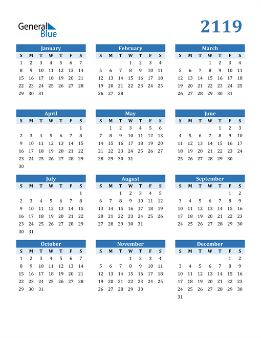 Image of 2119 2119 Calendar Blue with No Borders