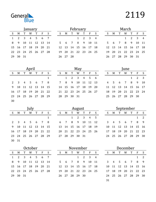 Image of 2119 2119 Printable Calendar Classic