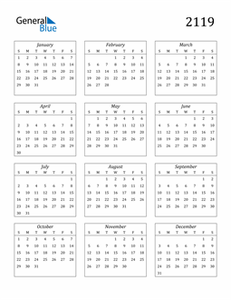 Image of 2119 2119 Calendar Streamlined