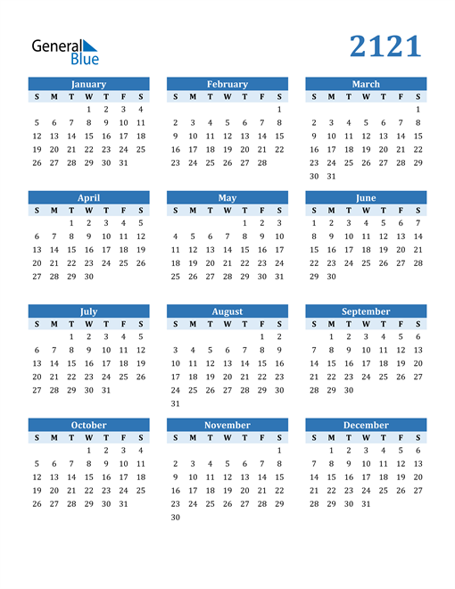 Image of 2121 2121 Calendar Blue with No Borders