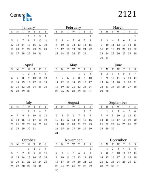 Image of 2121 2121 Printable Calendar Classic