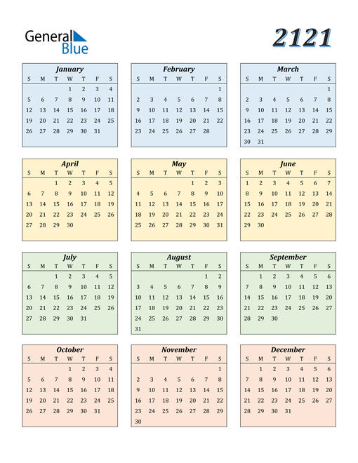 Image of 2121 2121 Calendar with Color