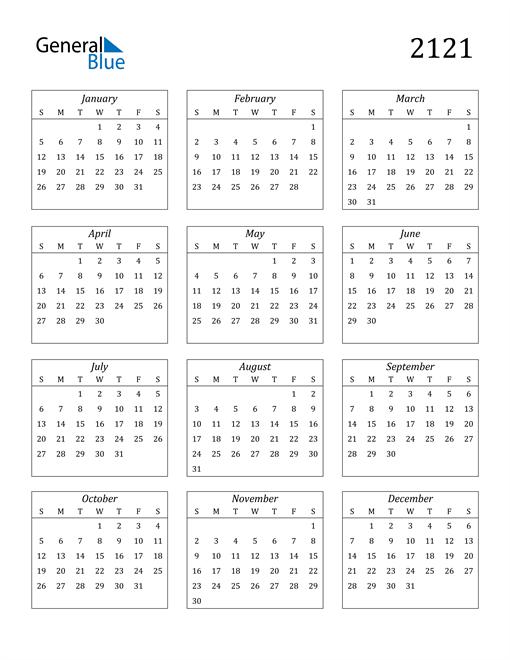 Image of 2121 2121 Calendar Streamlined