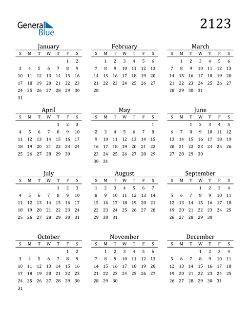 Image of 2123 2123 Printable Calendar Classic