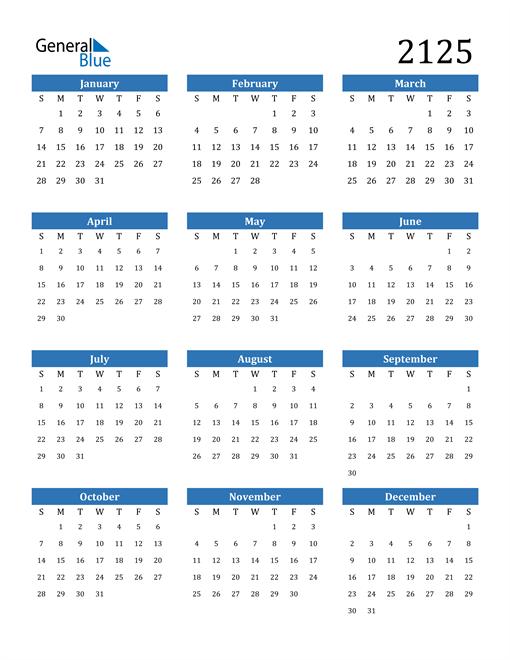 Image of 2125 2125 Calendar