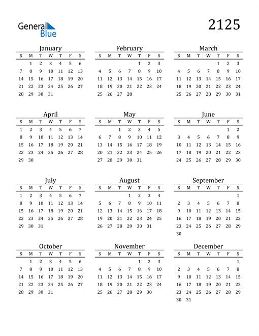 Image of 2125 2125 Printable Calendar Classic