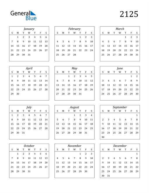 Image of 2125 2125 Calendar Streamlined