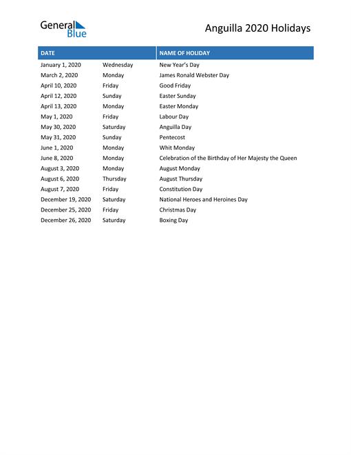 Image of Anguilla holidays 2020 list