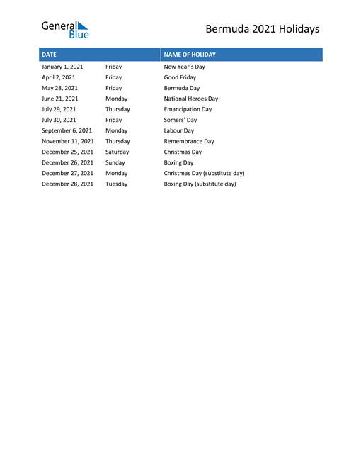 Image of Bermuda holidays 2021 list