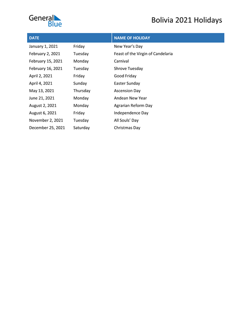 Image of Bolivia holidays 2021 list