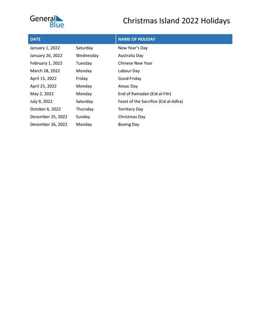 Image of Christmas Island holidays 2022 list