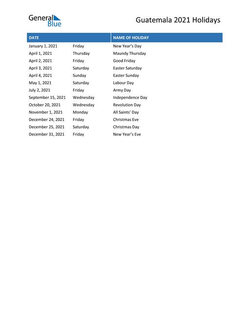 Image of Guatemala holidays 2021 list
