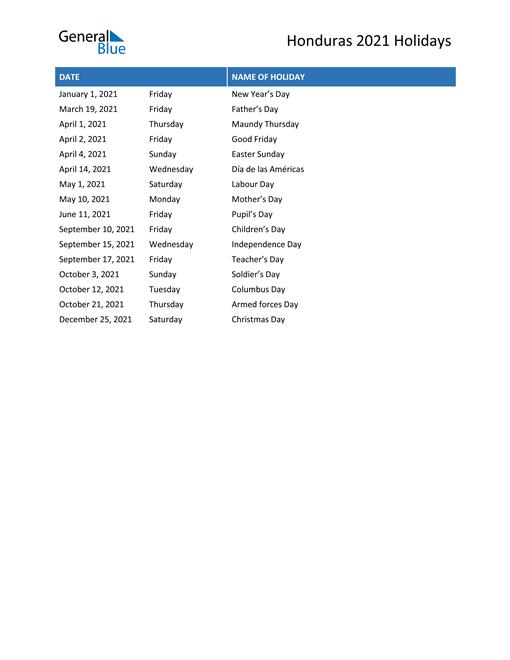 Image of Honduras holidays 2021 list