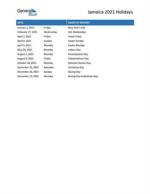 Image of Jamaica holidays 2021 list