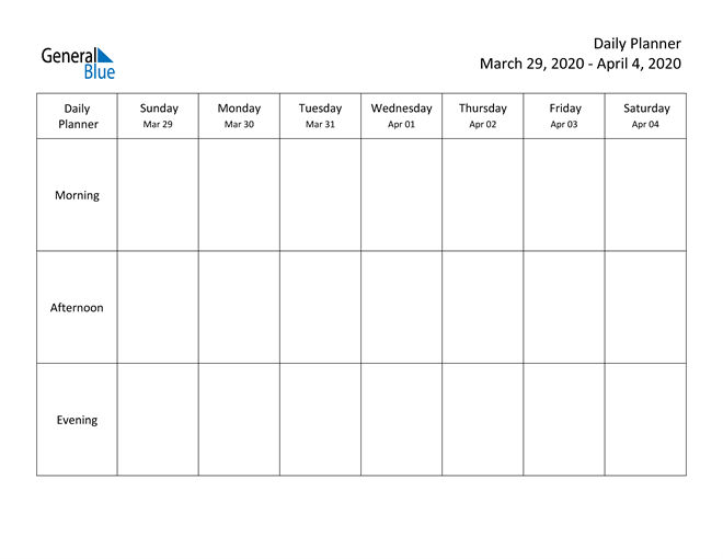 weekly calendar - march 29  2020 to april 4  2020