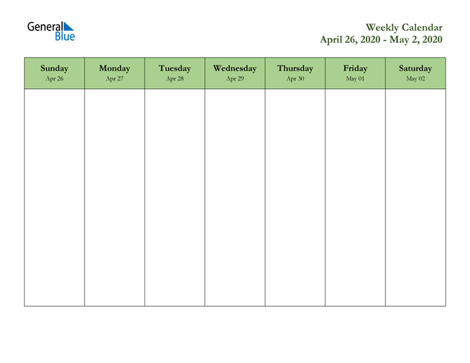 Weekly Calendar - April 26, 2020 to May 2, 2020 - (PDF ...