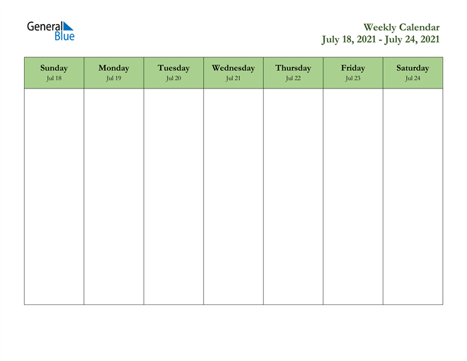 Weekly Calendar - July 18, 2021 to July 24, 2021 - (PDF ...