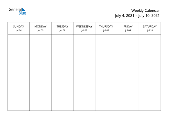 Weekly Calendar - July 4, 2021 to July 10, 2021 - (PDF ...