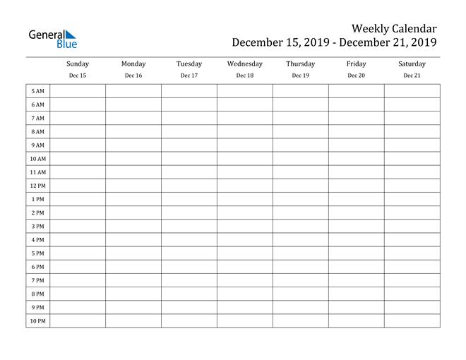 Weekly Calendar - December 15, 2019 to December 21, 2019 ...