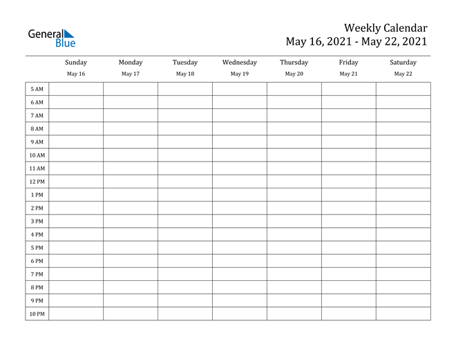 Week of May 16, 2021 editable and printable weekly calendar in PDF, Word, and Excel