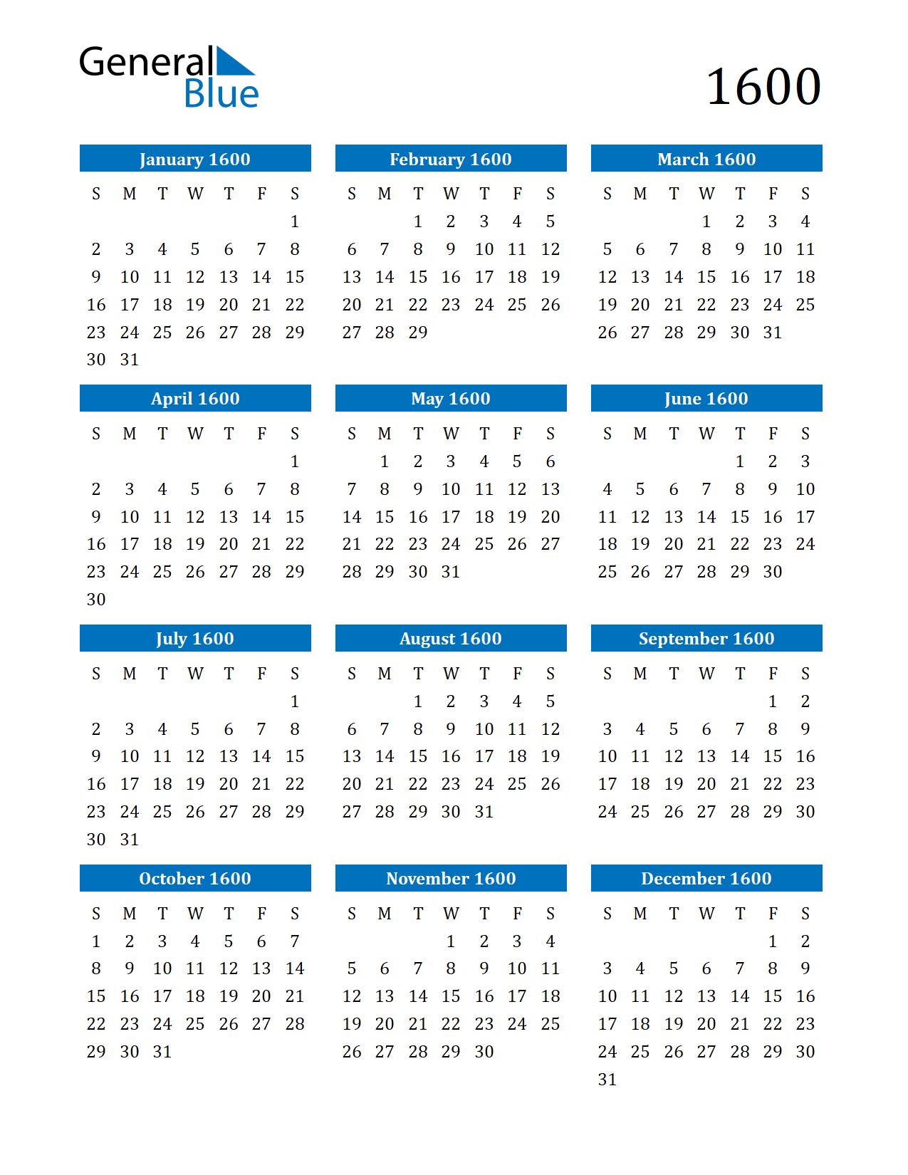 Image of 1600 Calendar