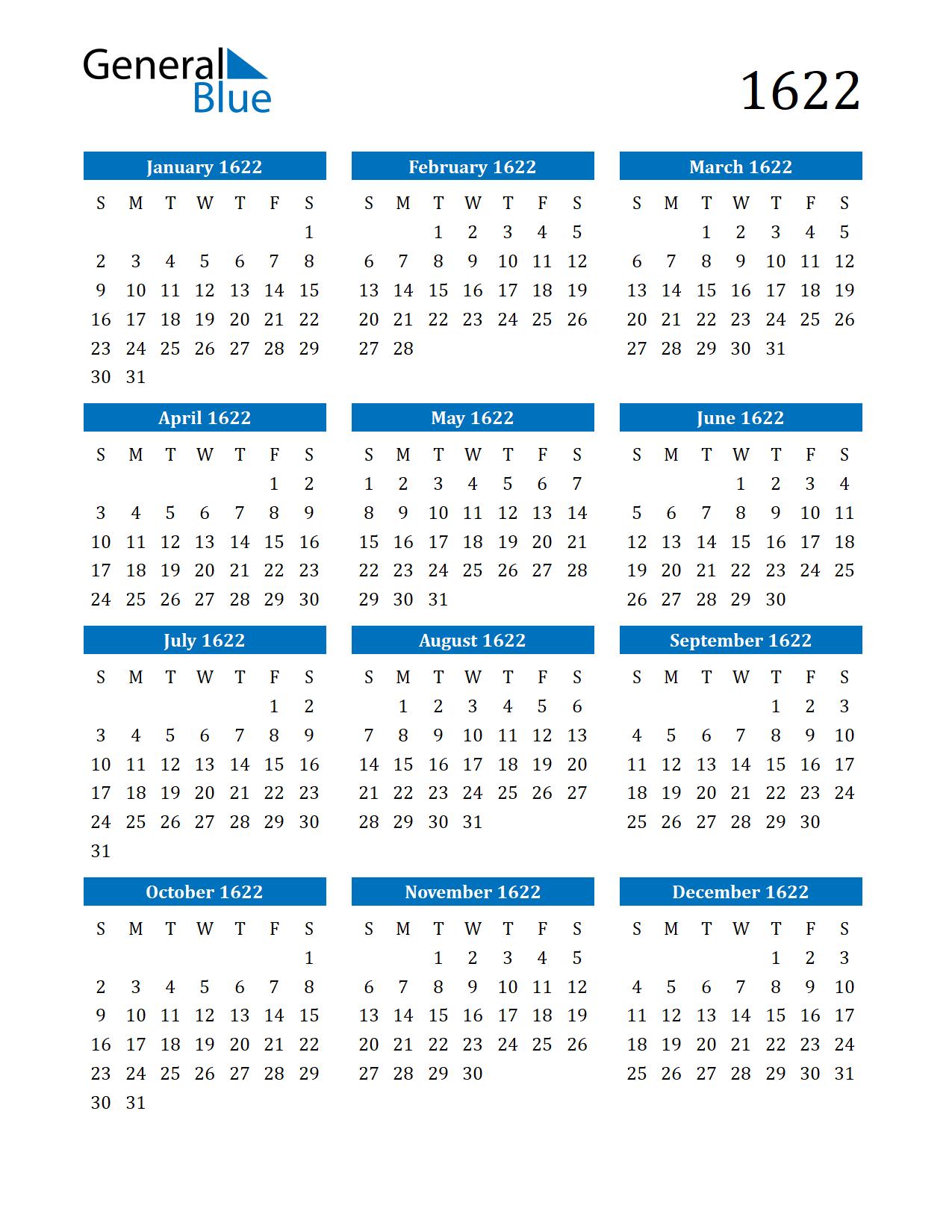 Image of 1622 Calendar