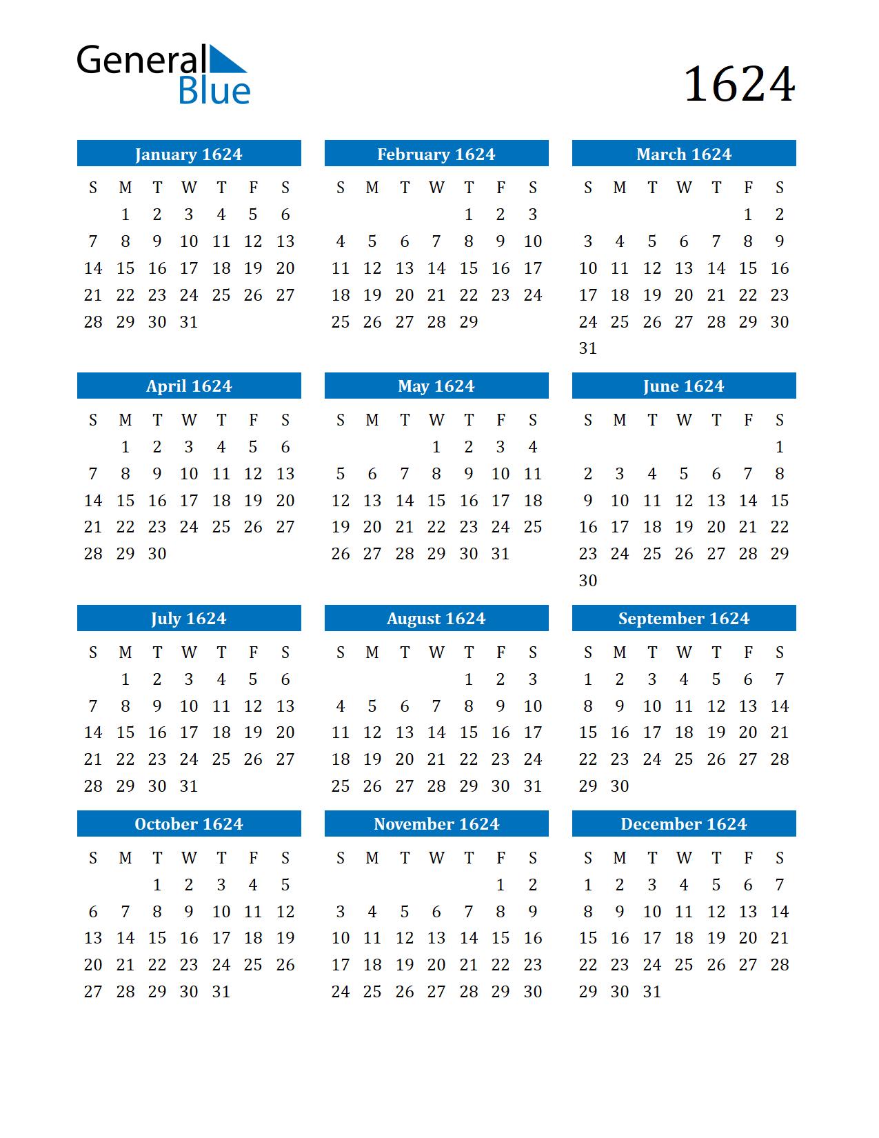 Image of 1624 Calendar