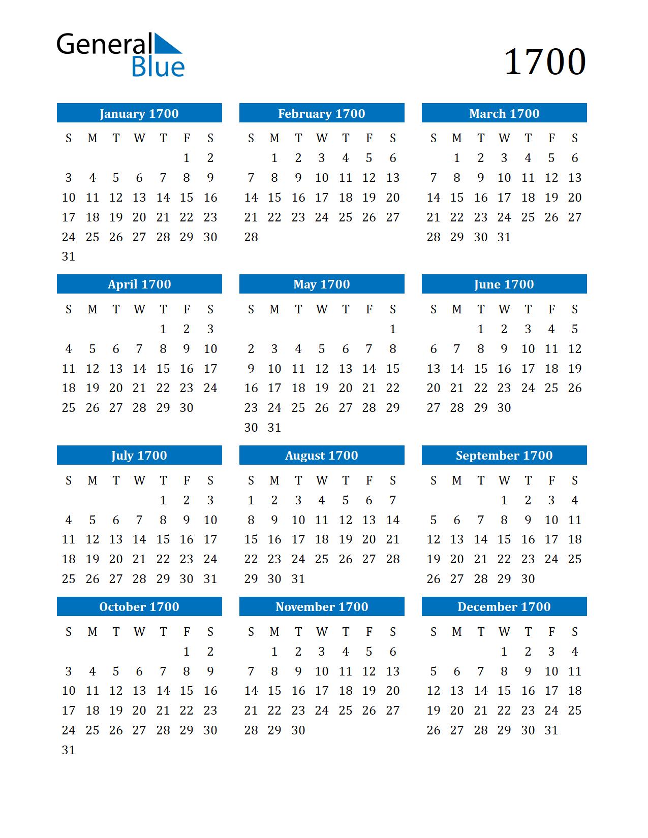 Image of 1700 Calendar