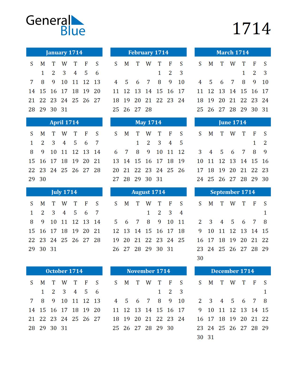 Image of 1714 Calendar