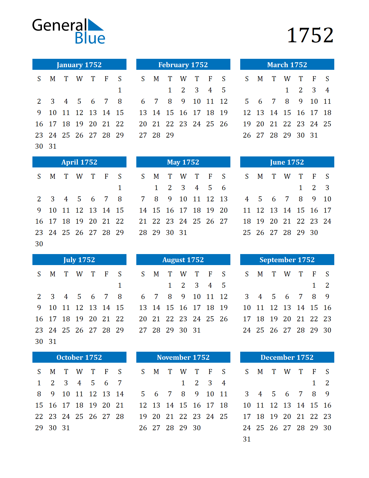 Image of 1752 Calendar