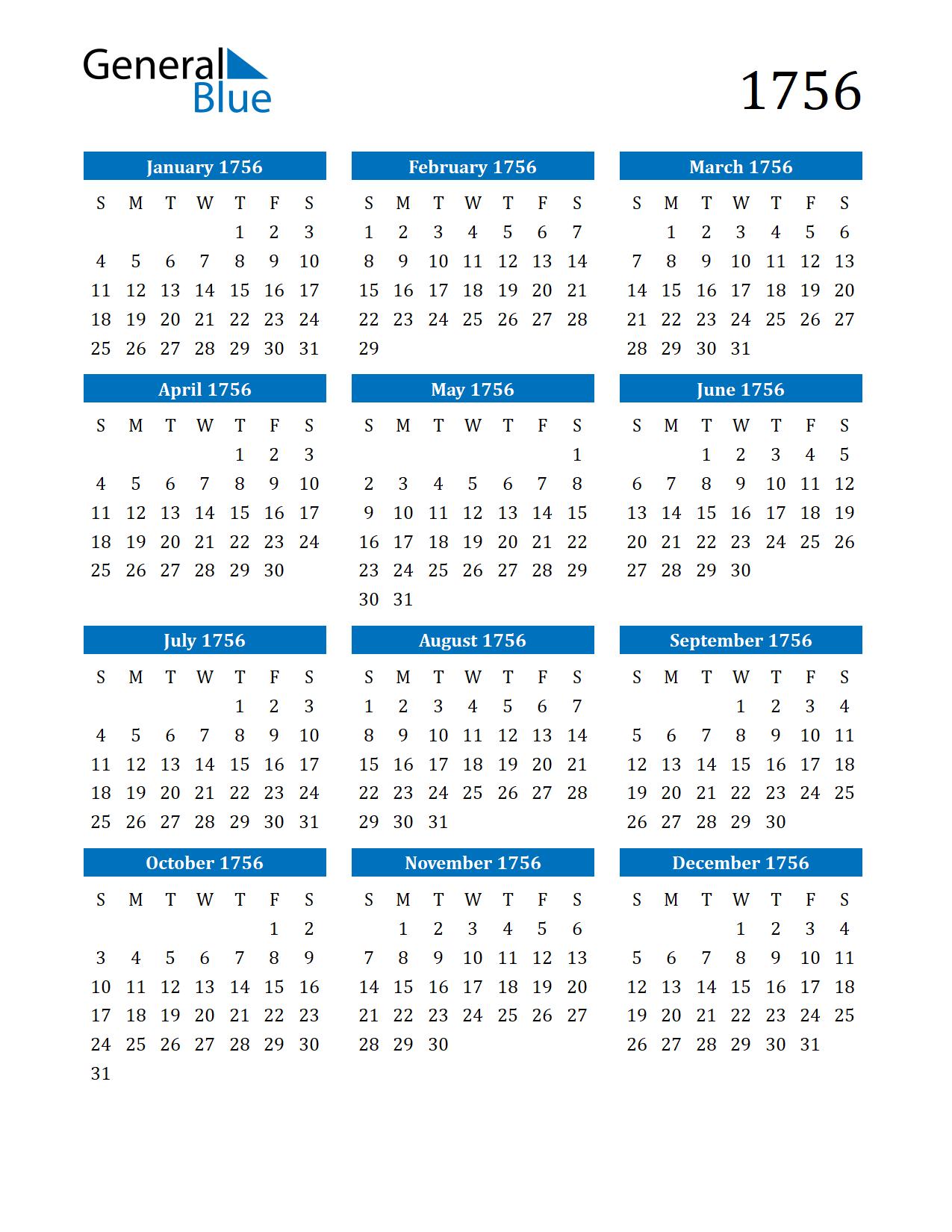Image of 1756 Calendar