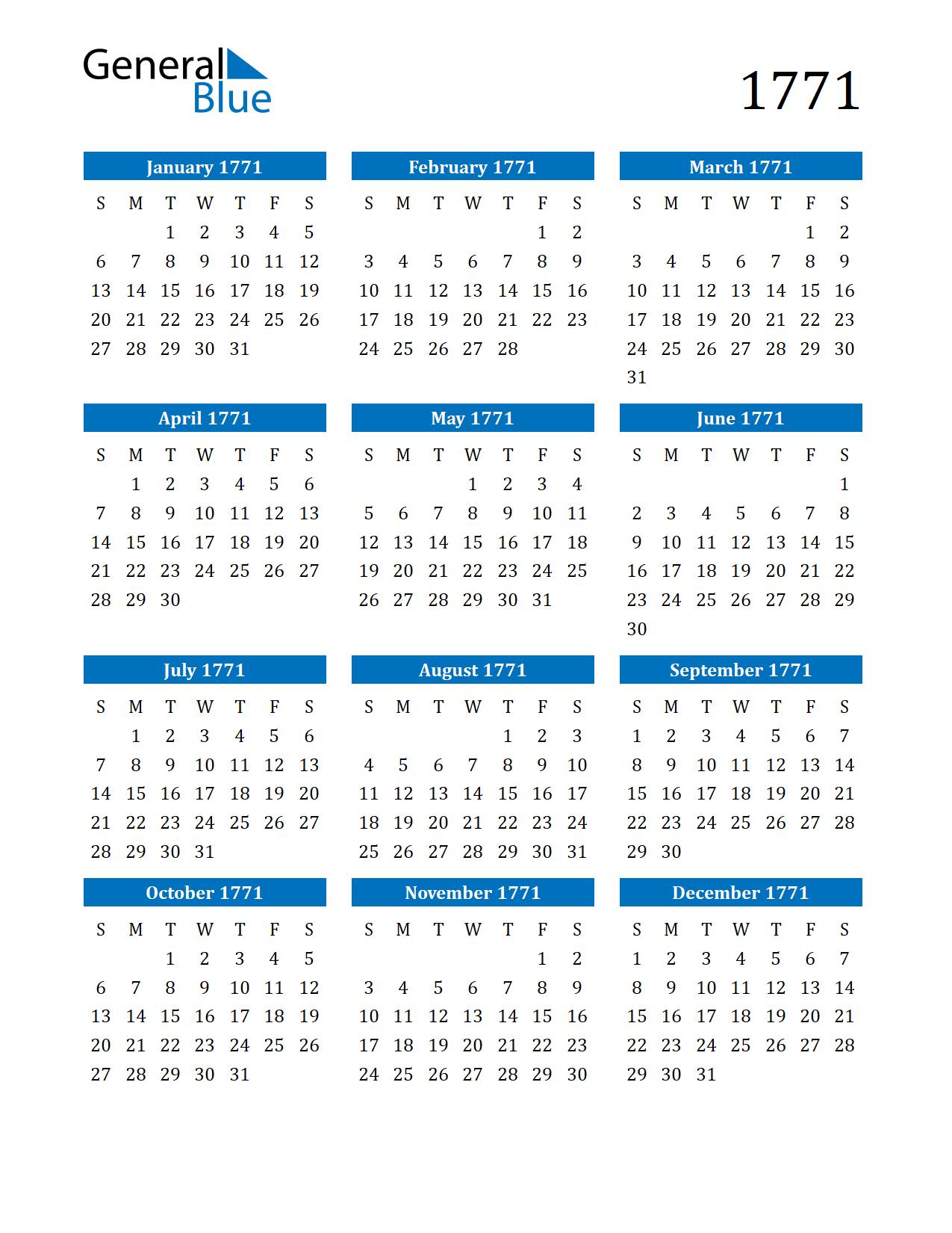 Image of 1771 Calendar