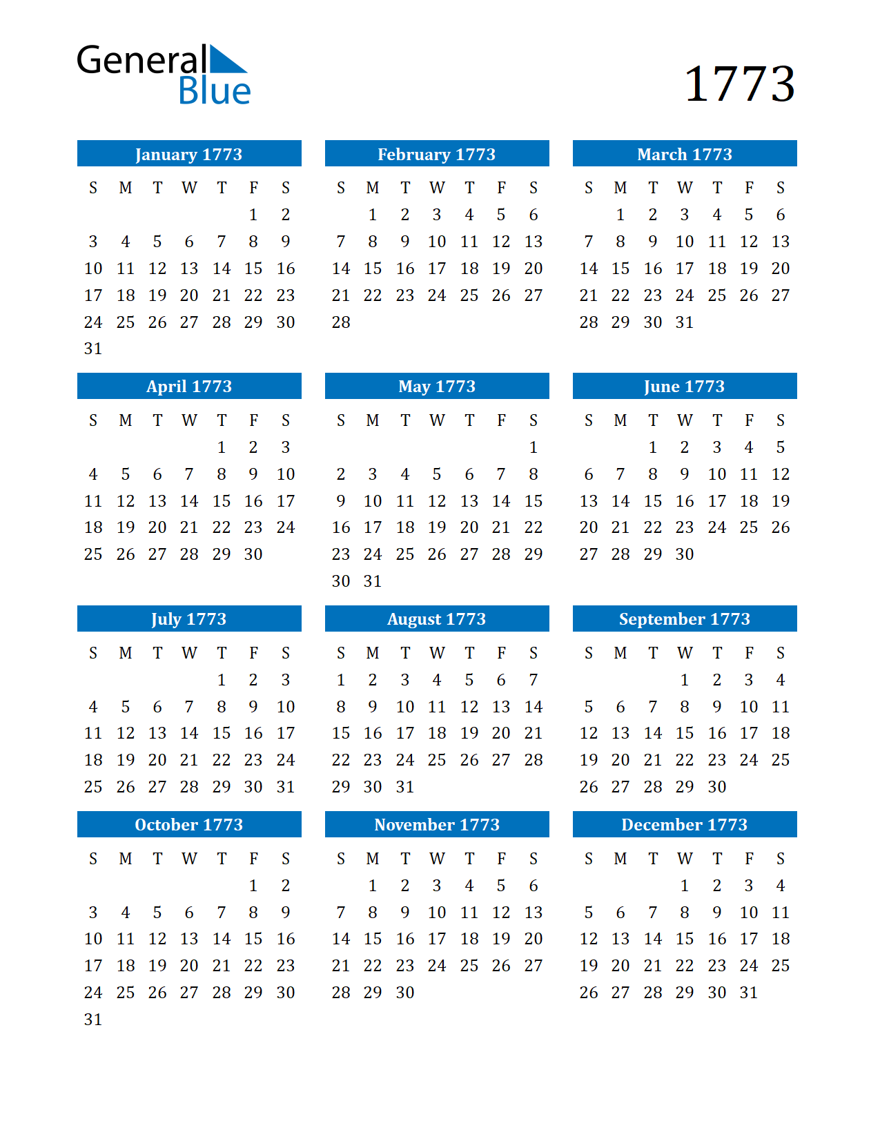 Image of 1773 Calendar