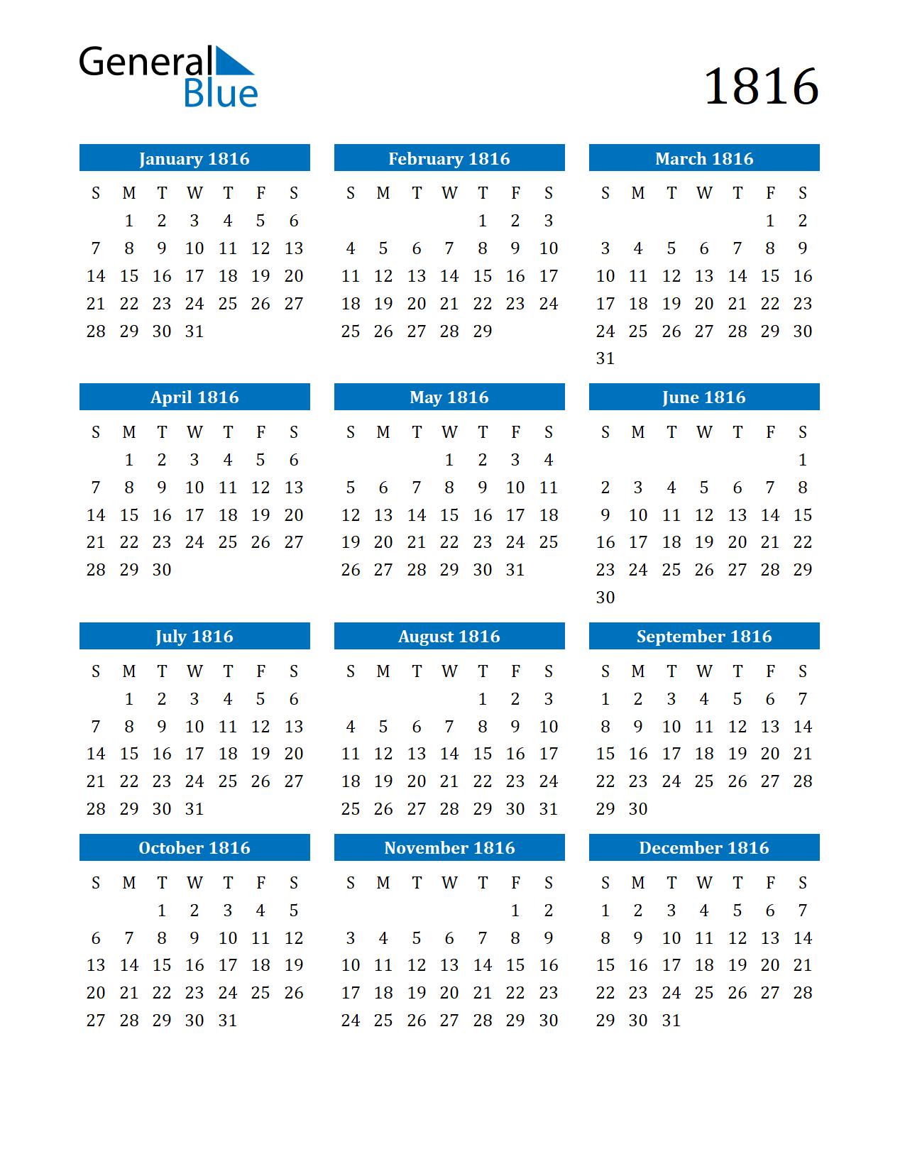 Image of 1816 Calendar