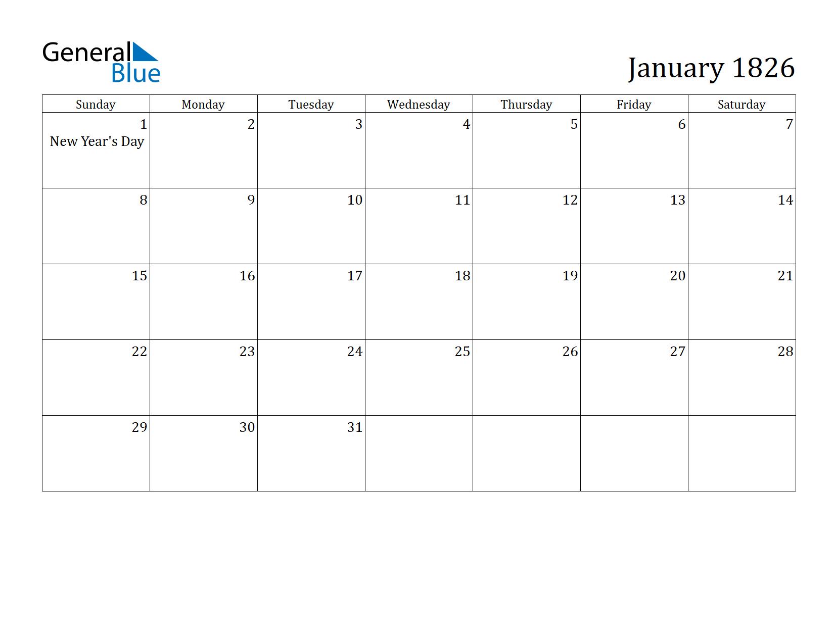 Image of January 1826 Calendar
