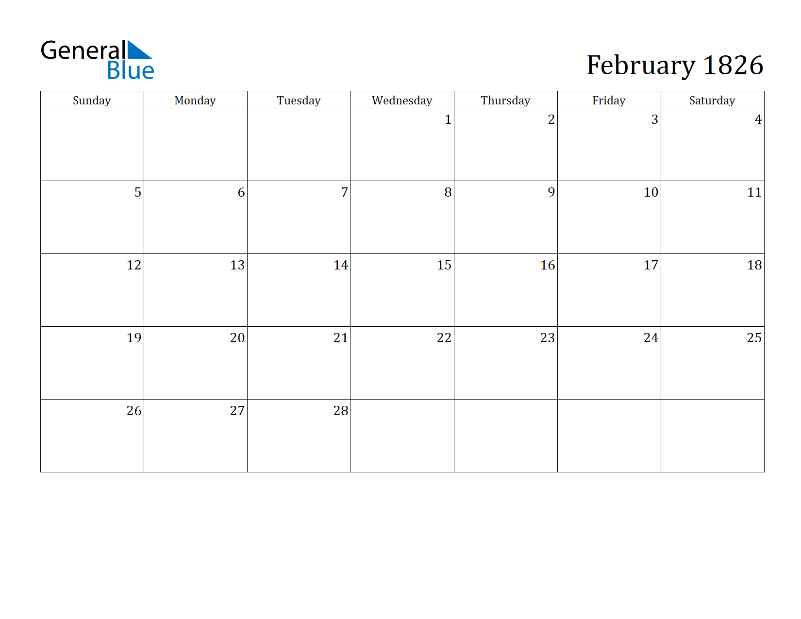 Image of February 1826 Calendar