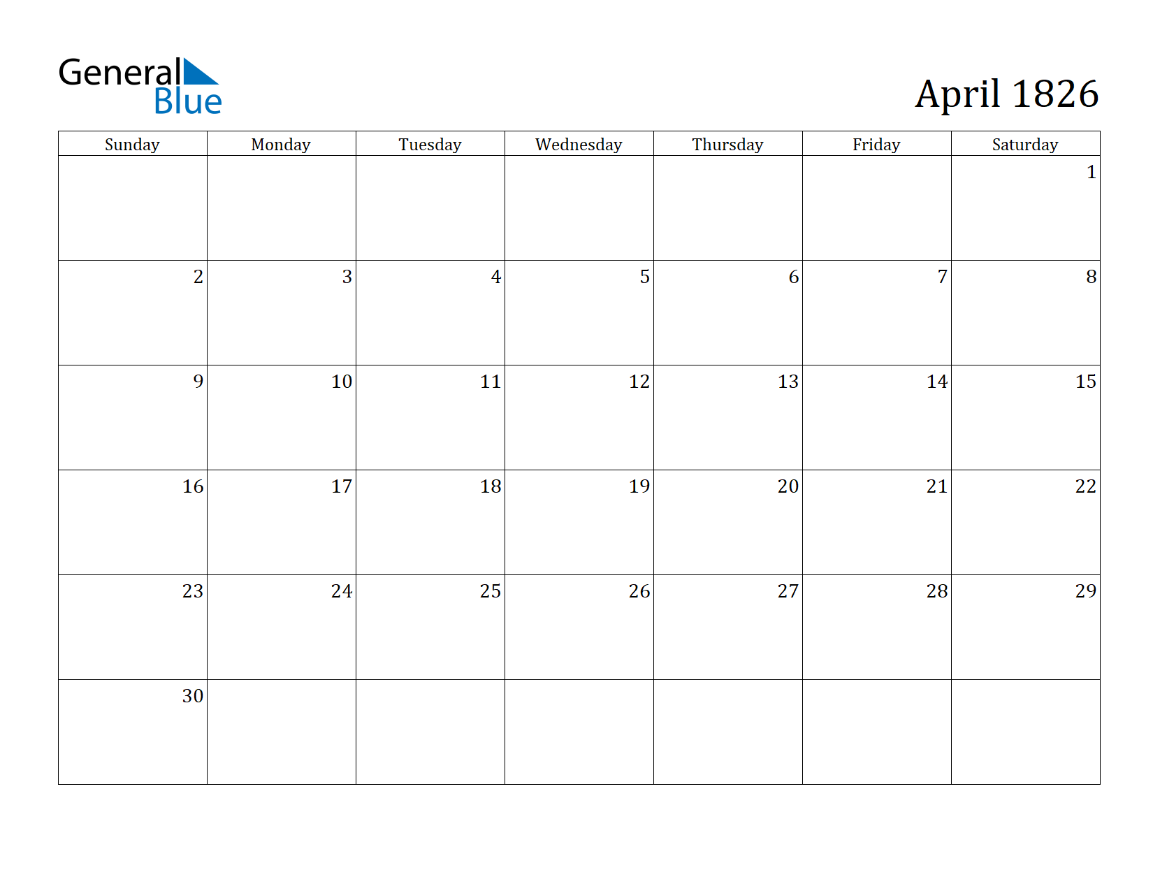 Image of April 1826 Calendar