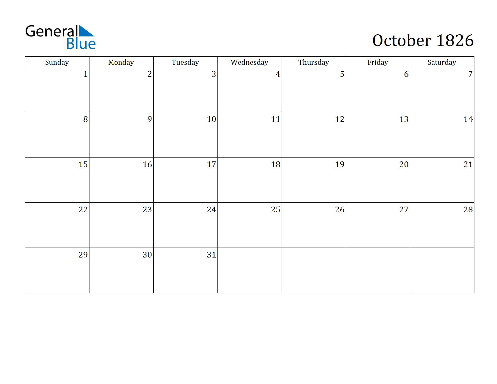 Image of October 1826 Calendar
