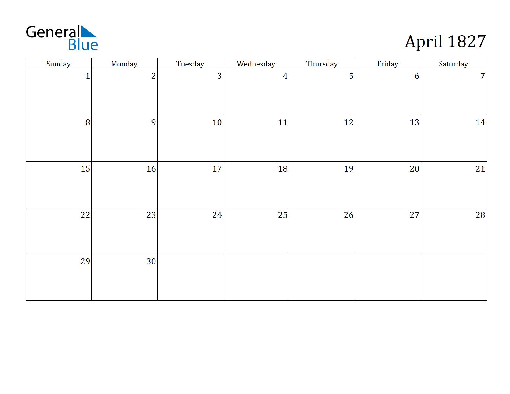 Image of April 1827 Calendar