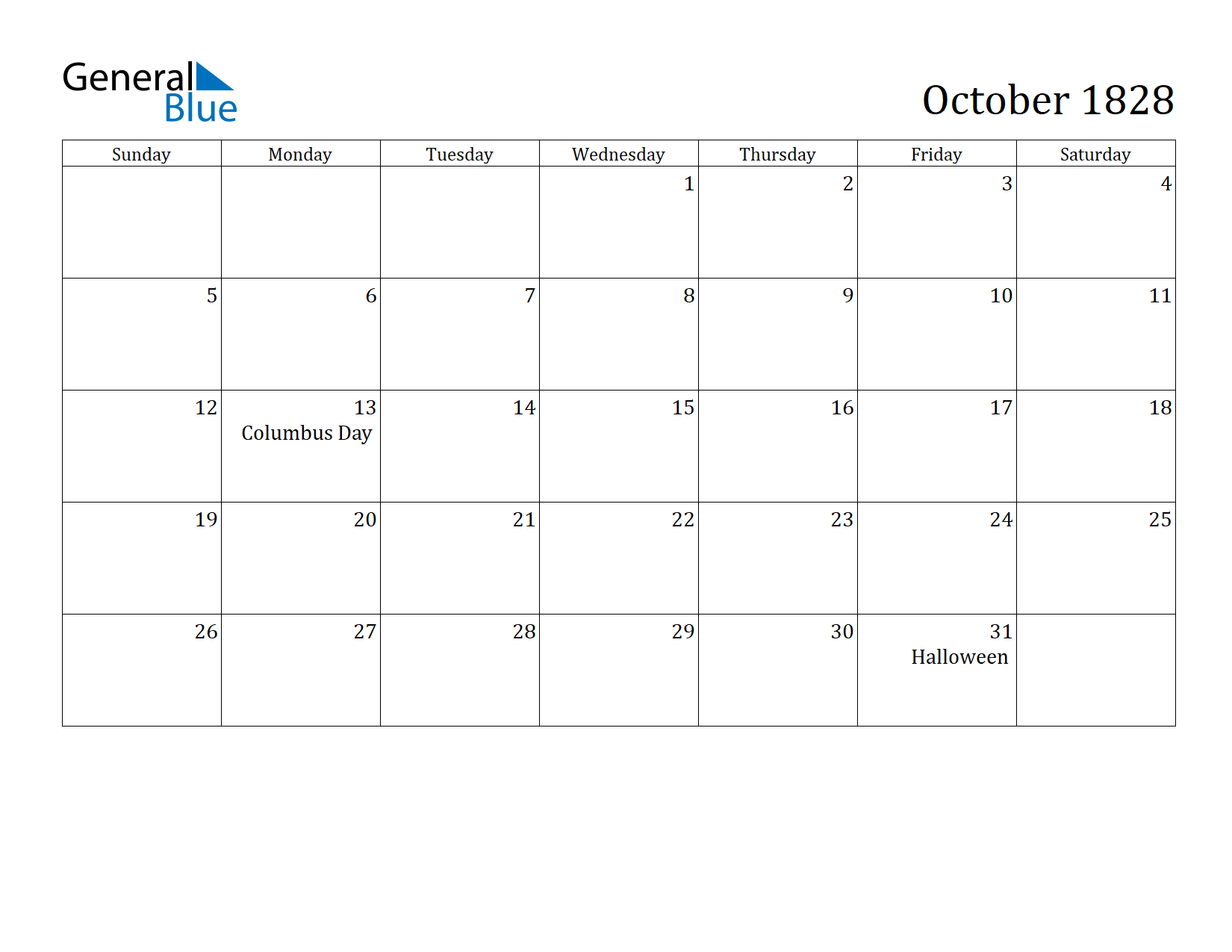 Image of October 1828 Calendar