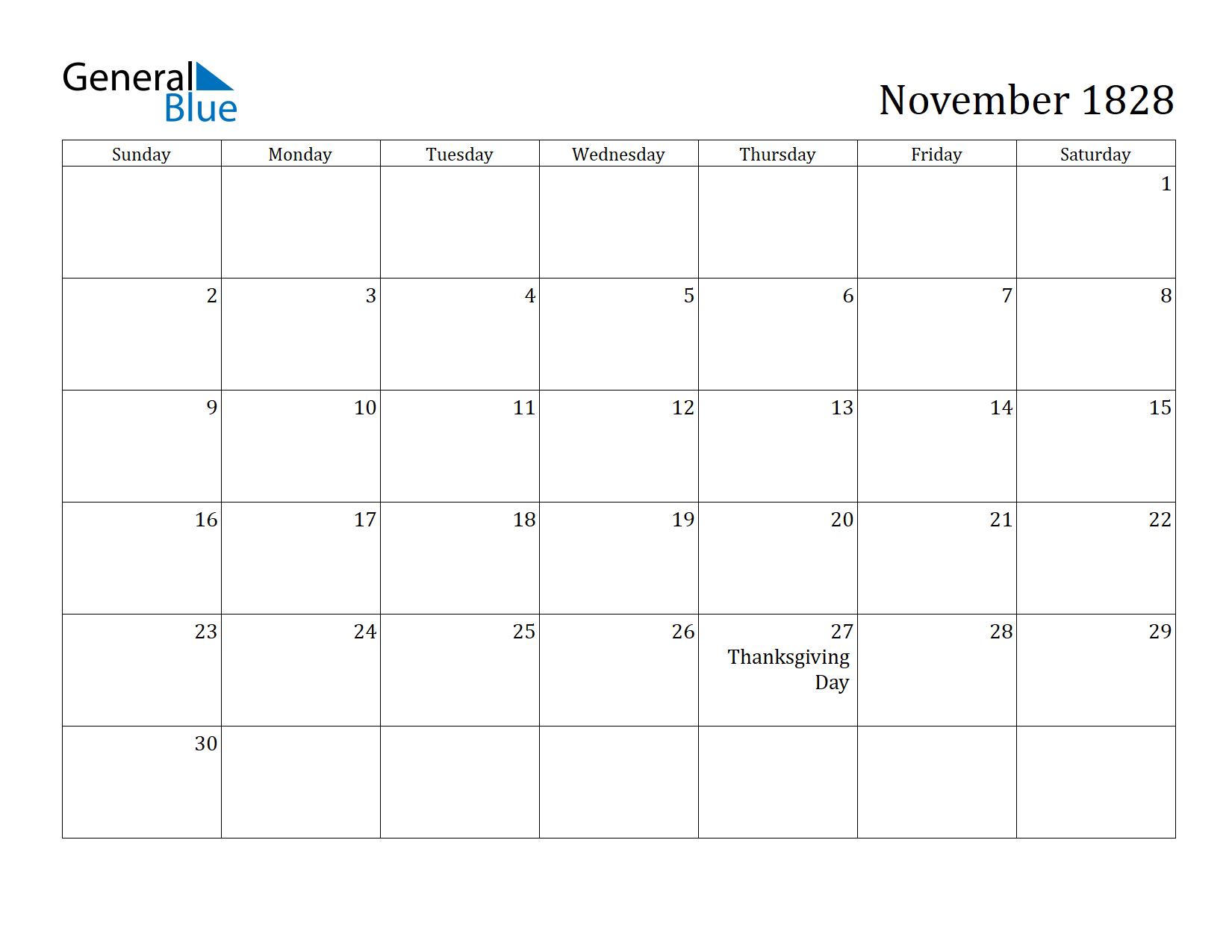 Image of November 1828 Calendar
