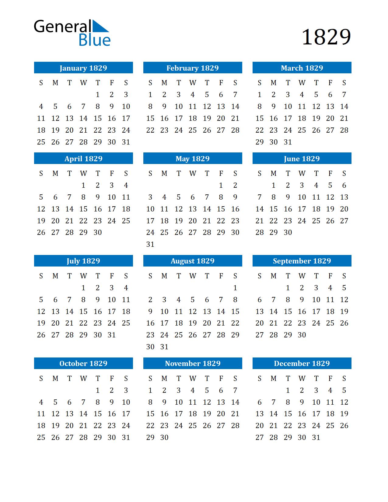 Image of 1829 Calendar