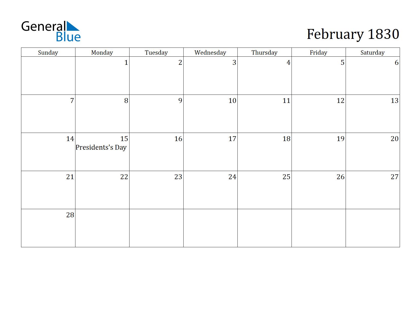 Image of February 1830 Calendar