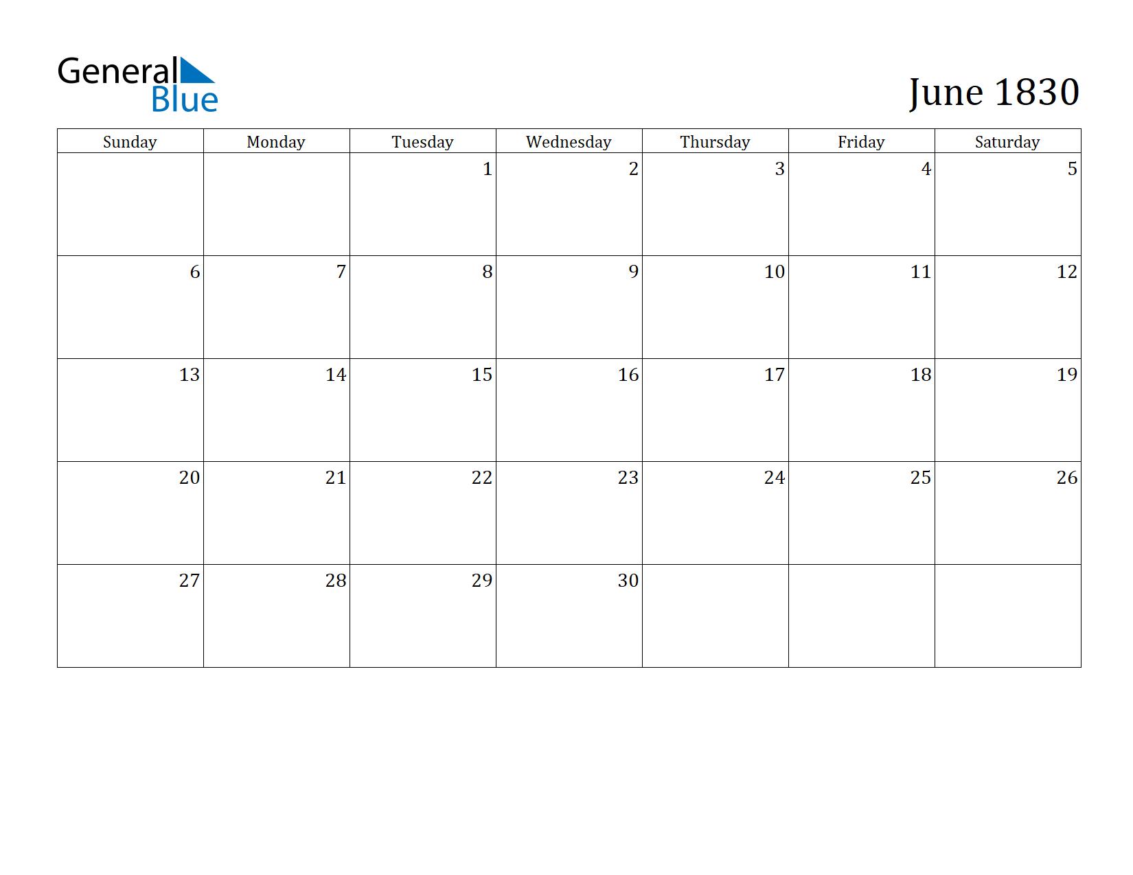 Image of June 1830 Calendar